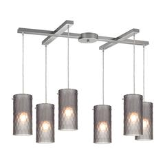 Synthesis 6 Light Pendant In Satin Nickel And Frosted Smoke Glass