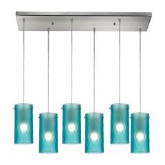 Synthesis 6 Light Pendant In Satin Nickel And Frosted Aqua Glass
