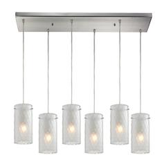 Synthesis 6 Light Pendant In Satin Nickel And Frosted Clear Glass