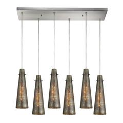 ELK lighting Rury 6 Light Pendant In Satin Nickel And Mercury Glass