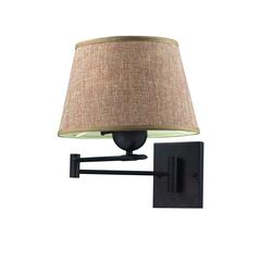 Swingarms 1 Light Swingarm Sconce In Aged Bronze With Tan Shade