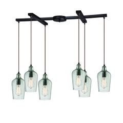 ELK lighting Hammered Glass 6 Light Pendant In Oil Rubbed Bronze And Clear Glass