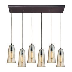 ELK lighting Hammered Glass 6 Light Pendant In Oil Rubbed Bronze
