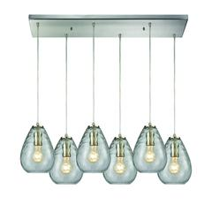 Lagoon 6 Light Rectangle Fixture In Satin Nickel With Clear Water Glass