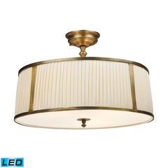 ELK lighting Williamsport 4 Light LED Semi Flush In Vintage Brass Patina