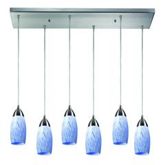 Milan 6 Light Pendant In Satin Nickel And Snow White Glass