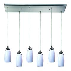 ELK lighting Milan 6 Light Pendant In Satin Nickel And Simply White Glass
