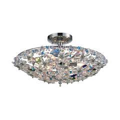 Crystallus 6 Light Semi Flush In Polished Chrome With Multi-Colored Crystal