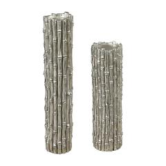 Silver Bamboo Set Of 2 Bamboo Pillar Candle Holders By