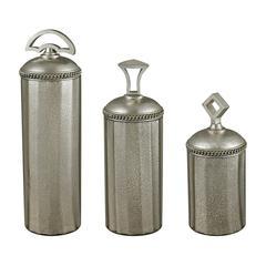 Halten Set Of 3 Antique Mercury Glass Jars By
