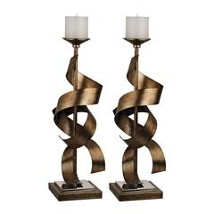 Set Of 2 Metal Sculpture Candle Holders
