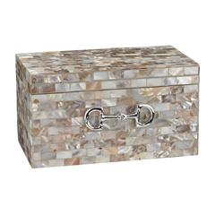 Mother Of Pearl Box With Snaffle Bit Accent