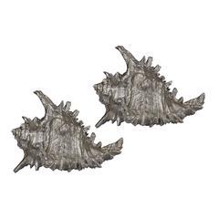 Sterling Set Of 2 Silver Leaf Whelk Shells