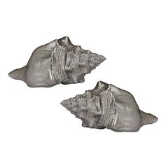 Set Of 2 Silver Leaf Shells