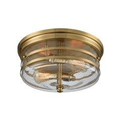 Port O' Connor 2 Light Flush In Satin Brass With Seedy Glass