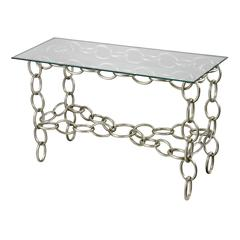 Silver Chain Console Table With Clear Glass Top