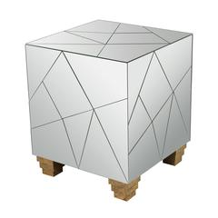 Mirrored Mosaic Cube Foot Stool