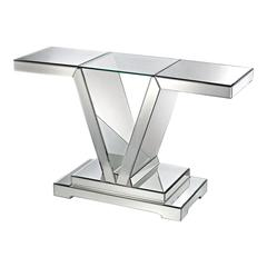 Lazy Susan Mirrored Console Table With Clear Glass Top