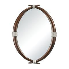 Sterling Ludville-Antler Mirror With Silver Rope Accents