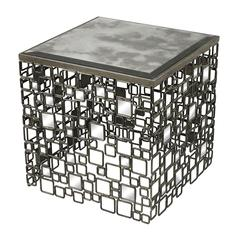 Sterling Alvis-Metal And Antique Mirror Side Table