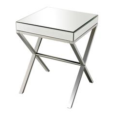 Klein-Mirror And Stainless Steel Side Table