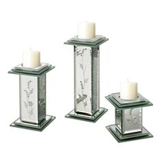Sterling Set Of 3 Small Venetian Candle Holders