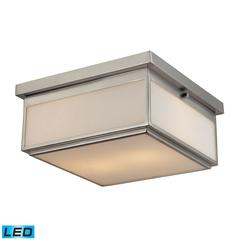 Flushmounts 2 Light LED Flushmount In Brushed Nickel And Opal White Glass