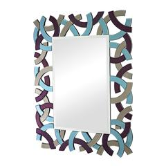 Confetti Colored Glass Framed Beveled Mirror