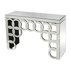 Silver Rings Mirrored Console