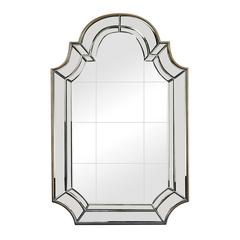 Tiled Face Mirror With Beveled And Curved Edging