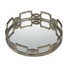 Iron Scroll Mirrored Tray