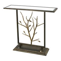 Sterling Bronze And Gold Leafed Metal Branch Console Table With Antique Mirrored Top
