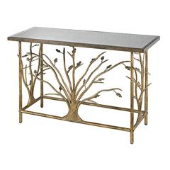 Gold Leafed Metal Branch Console Table With Antique Mirrored Top