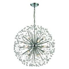 Starburst 16 Light Chandelier In Polished Chrome And Crystal