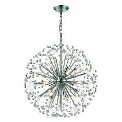 ELK lighting Starburst 16 Light Chandelier In Polished Chrome And Crystal