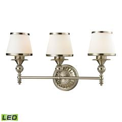ELK lighting Smithfield 3 Light LED Vanity In Brushed Nickel And Opal White Glass