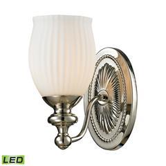 ELK lighting Park Ridge 1 Light LED Vanity In Polished Nickel And Reeded Glass