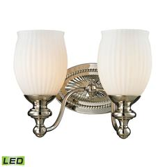 Park Ridge 2 Light LED Vanity In Polished Nickel And Reeded Glass