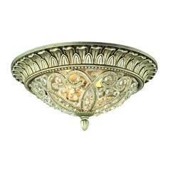 Andalusia 2 Light Flush Mount In Aged Silver