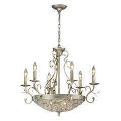 ELK lighting Andalusia 6+3 Light Chandelier In Aged Silver