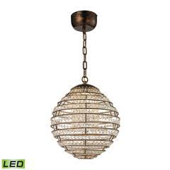 ELK lighting Crystal Sphere LED Light Pendant In Spanish Bronze