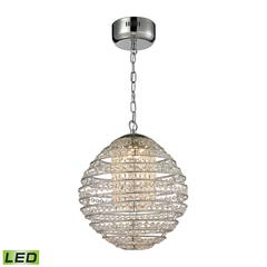 Crystal Sphere LED Light Pendant In Polished Chrome