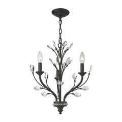 ELK lighting Crystal Branches 3 Light Chandelier In Burnt Bronze