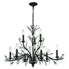 ELK lighting Crystal Branches 9 Light Chandelier In Burnt Bronze