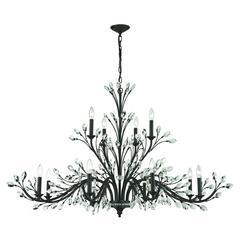 ELK lighting Crystal Branches 12 Light Chandelier In Burnt Bronze