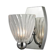 ELK lighting Lindale 1 Light Vanity In Polished Chrome And Scalloped Glass