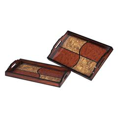 Sterling Set Of 2 Quartered Trays