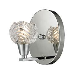 Crystal Wave 1 Light Vanity In Polished Chrome And Clear Wave Patterned Glass