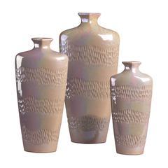 Sterling Set Of 3 Ceramic Vases