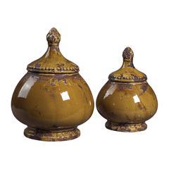 Sterling Set Of 2 Ceramic Jars